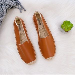SOLUDOS Tan Leather Flat Espadrilles